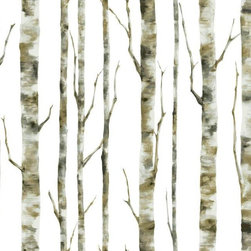 "York Wallcovering - Enchanted Forest Birch Tree Wallpaper, Double Roll - This is creative birch tree wallpaper from our Room to Grow collection. The trees are green and off-white on a solid white background. Unlike other similar birch tree patterns, this one has a more playful look about it. While this wallpaper is from a kid's themed collection, we've seen people use this pattern in many different types of rooms. Prepasted, Washable, Strippable. Design Repeat: 24"" or 60.9 cm. Drop Match. Note: This wallpaper is made on a prepasted Sure Strip backing, making it easy to install and remove. Pattern # BS5334. 27 inches x 27 feet (60.75 sq ft)"