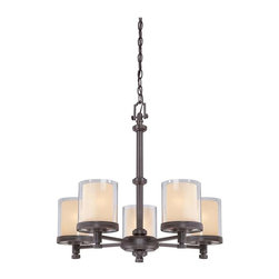 """Nuvo Lighting - Nuvo Lighting Decker 5-Light Chandelier with Clear and Cream Glass - The Decker collection is a well thought -out assembly of finely crafted """"machined"""" style parts. Decker's double glass shade design creates a unique glow which adds depth and mood to this family. Decker's industrial style is perfectly suited to work well with many design elements used today. Available in Sudbury Bronze with Clear and Cream glass shades or Brushed Nickel with Clear and Frosted glass shades."""