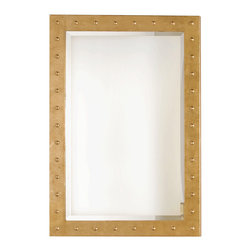 Worlds Away - Worlds Away Gold Leafed Studded Mirror with Beveled Mirror WILSON G - Worlds Away Gold Leafed Studded Mirror with Beveled Mirror WILSON G