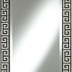 Greek Key 37-Inch High Black Tile Mosaic Wall Mirror - I love to decorate with mirrors. The tile mosaic trim on this mirror makes it extra special, and it would be so pretty in a dressing room or large closet.