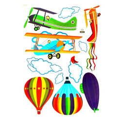Blancho Bedding - Aeroplane And Hot Balloon- Wall Decals Stickers Appliques Home Decor - The decals are made of a high quality, waterproof, and durable vinyl and will stick to any smooth surface such as walls, doors, glass, cabinets, appliances, etc. You can add your own unique style in minutes! This decal is a perfect gift for friend or family who enjoy decorating their homes. Imaginative art for you and won't damage your walls! Without much effort and cost you can decorate and style your home. Quick and easy to apply~!!!