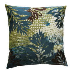Koko Company - Koko Company Ecco Blue & Brown Leaves Decorative Pillow - 91766 - Shop for Pillows from Hayneedle.com! Like peering through African ferns on a distant landscape the Koko Company Ecco Blue & Brown Leaves Decorative Pillow has a sense of exotic mystery. The foreground embroidered leaves seem to float over the blue green and jute patterned background. The combination of smooth cotton and textured wool is clever. Handmade embroidery and applique give each unique one-of-a-kind look a celebration of soft natural fibers.The Ecco series of 100% cotton pillows features beautiful wool crewel embroidery over gentle nature tones. Koko uses natural fibers with no hard elements like buttons or zippers. Mix and match for a unique and highly individualistic look. Remove the cover from the soft polyester filling for easy cleaning. Dry clean. Made in India. Peer into this pillow and see your beautiful new room!About The Koko CompanyFor over 10 years The Koko Company has been pouring heart and soul into bringing you a vibrant diverse collection of pieces to suit your unique style. From pillows and bedding to rugs and throws every piece is both versatile and distinctive each playing its own part in a grander global vision. Located in Long Island City NY but influenced and inspired by an array of cultures and fashions The Koko Company strives to bring the subtle elegance of natural fibers and organic design to your home accents.