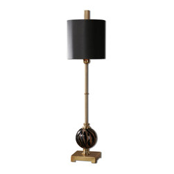Uttermost - Uttermost 29941-1 Amur Smoke Glass Buffet Lamp - Smoked Etched Glass With Polished Black Details And Plated Brushed Brass Accents.