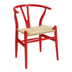 Modway - Amish Dining Armchair in Red - Time flows effortlessly through the Amish wooden dining chair. The craftsmanship is evident throughout a piece that appears both petite and boldly courageous. While Amish conveys a transitional feel with its solid beechwood back and base, the result is an enduring design with a style that doesnt fade. Given the iconic form and staggered-level wooden support rods, Amish deftly develops the interplay between permanence and sequential movements forward. The seat is made of paper rope, a new twine that is eco-friendly, soft, anti-static and durable.