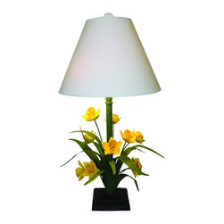 Dr. Livingston I Presume - Hand Painted Yellow Daffodil Table Lamp by Dr Livingstone I Presume - It's Spring all year... with the adorable Daffodil lamp designed by whimsical lover Carleton Varney. Sunny yellow flowers hand crafted from tole sprout to the light above. (DLIP)
