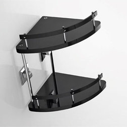 Nameeks - Grip Dual-Level Corner Bathroom Shelf | Nameeks - Made in Italy. A part of Toscanaluce by Nameek's.The Grip Dual-Level Corner Bathroom Shelf is a durable and attractive addition to modern bath spaces. Constructed with high-quality plexiglass, this two level triangular shaped shelf comes with railing and wall mounts. It can be mounted on the corner of your bathroom with the included wall-mounting hardware. The Grip Dual-Level Corner Bathroom Shelf is perfect for bathrooms with limited space. Product Features: