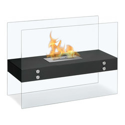 "Ignis - Vitrum H Black Freestanding Ventless Ethanol Fireplace - Nothing says, ""come on in, sit for a spell,"" like this Vitrum H Black Freestanding Ventless Ethanol Fireplace. This attractive fireplace has sleek, modern lines and offer clean-burning operation that doesn't feature the smoke, smell, or mess of a traditional fireplace. The clear glass design of this freestanding fireplace gives it true designer appeal, since it appears that your open flame is just floating there for all to enjoy. This ventless unit doesn't require that you install a chimney or any special gas or electric lines. It uses clean ethanol fuel, and it is equipped with an ethanol burner that burns for around five hours on one 1.5-liter refill. Dimensions: 31.5"" x 23.5"" x 12"". Features: Ventless - no chimney, no gas or electric lines required. Easy or no maintenance required. Freestanding - can be placed anywhere in your home (indoors & outdoors). Capacity: 1.5 Liters. Approximate burn time - 5 hour per refill. Approximate BTU output - 6000."