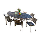 Great Deal Furniture - Magdalena 10pc Outdoor Copper Cast Aluminum Dining Set - The Magdalena dining set is a beautiful addition for your outdoor decor. Made from cast aluminum, the set includes nine dining chairs and one oval table. The features include a mesh back and seat rest, and the table also features an umbrella opening and a Lazy Susan for easy serving. The antique Copper finish is neutral to match any outdoor furniture and will hold up in any weather condition. Whether in your backyard, patio, deck or even your restaurant outdoor dining space, you'll enjoy this set for years to come.