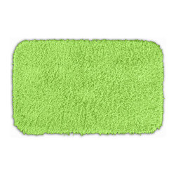 None - Quincy Super Shaggy Lime Green Washable 24x40 Bath Rug - Jazz up the bathroom, shower room, or spa with a bright note of color while adding comfort you can sink your toes into with the Quincy Super Shaggy bathroom collection. The green rug is created from soft, durable, machine-washable nylon.
