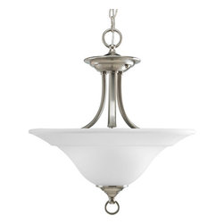 """Progress Lighting - Progress Lighting P3473-09 Trinity 16"""" Semi-Flush Mount Ceiling Fixture, - Graceful and bold, this two light convertible ceiling fixture can be converted into a semi-flush mount or hung from matching chain to create a dazzling pendant.  With an etched glass bowl and 200 watts of lighting power, this fixture is the perfect addition to a dining room, living room, or any other space.Features:"""