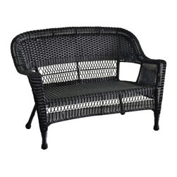 "Jeco - Black Wicker Patio Love Seat - ""With durable, all-weather resin wicker over a powder-coated steel frame, this loveseat is built to withstand anything life throws your way. Unlike real wicker which dries out and cracks, resin wicker is flexible and fade-resistant, which means it stays like new season after season. What's more, all-weather wicker doesn't absorb water and also allows for air flow, making it the perfect choice for the poolside! In addition, this loveseat is virtually maintenance-free and cleaning it is as simple as spraying it down with your garden hose or wiping it with a solution of mild dish soap and water. As fetching as it is functional, this loveseat is the perfect choice for those who want superior quality at a reasonable price."