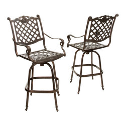 Great Deal Furniture - Pomelo Outdoor Cast Aluminum Bar Stools (Set of 2) - The Pomelo bar stools is a beautiful addition for your outdoor decor. Made from cast aluminum, these durable and luxurious stools features intricate details, and a diamond-mesh swivel seat and backrest. The antique shiny copper finish is neutral to match any outdoor furniture and will hold up in any weather condition. Whether in your backyard, patio, deck or even your restaurant outdoor dining space, you'll enjoy these stools for years to come.