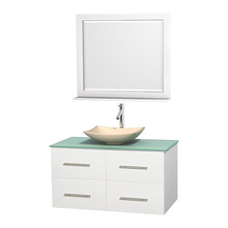 "Wyndham Collection - Centra 42"" White Single Vanity, Green Glass Countertop, Arista Ivory Marble Sink - Simplicity and elegance combine in the perfect lines of the Centra vanity by the Wyndham Collection. If cutting-edge contemporary design is your style then the Centra vanity is for you - modern, chic and built to last a lifetime. Available with green glass, pure white man-made stone, ivory marble or white carrera marble counters, with stunning vessel or undermount sink(s) and matching mirror(s). Featuring soft close door hinges, drawer glides, and meticulously finished with brushed chrome hardware. The attention to detail on this beautiful vanity is second to none."
