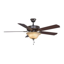 """Fanimation - Fanimation Aire Decor 220 52"""" 5 Blade Ceiling Fan - Blades, Bowl Light Kit, and - Included Components:"""