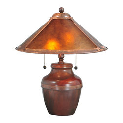 Meyda Tiffany - Meyda Tiffany Antique Reproductions Table Lamp in Craftsman Brown - Shown in picture: Van Erp Amber Mica Table Lamp; In The Tradition Of American Master Craftsman Dirk Van Erp - This Appealing Copper Frame With A Hand Washed Patina - Glows With The Warmth Of The Natural Amber Mica Panels Within. The Shade Is Supported By A Traditional Bean Pot Lamp Base In Matching Washed Copper Finish.