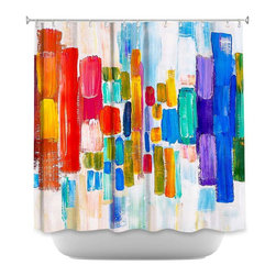 DiaNoche Designs - Shower Curtain Artistic Color Blocks - Sewn reinforced holes for shower curtain rings. Shower Curtain Rings Not Included. Dye Sublimation printing adheres the ink to the material for long life and durability. Machine Washable. Made in USA.