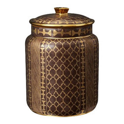 "L'Objet - L'Objet Fortuny Canister Ashanti Grey Medium - L'Objet Fortuny Canister Ashanti Grey Medium The artisans of Venice inspire us. Their carefully guarded secrets of technique have been handed down directly from the ancient world, one generation of skilled hand-crafters to the next. There is one who especially speaks to the heart of L'Objet - the legendary fashion and textile designer Mariano Fortuny - revealing a deep and kindred connection that transcends time. It sets the pattern and pace of this collaboration.EarthenwareHand Applied 24K GoldHand Wash: Measures: 6"" x 9"" Luxuriously Gift Boxed"