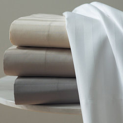 Frontgate - Duet Flat Sheet - Handsome damask stripe. Luxurious 100% Egyptian cotton. Tightly woven 400 thread count sateen. Machine washable. Tightly woven from Egyptian cotton, our Duet Sheet Set by Peacock Alley features a striped damask texture and luxurious luster and drape you'll want to dive into. Duet sheets are slightly thicker and have an extra smooth sheen; the woven richness of these linens will surround you in opulent comfort for years to come.  .  .  .  . Imported from Portugal.