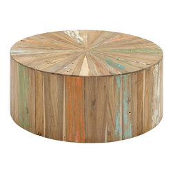Artistic and Lovely Natural Reclaimed Wood Coffee Table - Description: