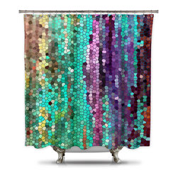 Shower Curtain HQ - Catherine Holcombe Morning Mosaic Fabric Shower Curtain, Extra Long - This gorgeous mosaic shower curtain will give your bathroom a luxurious look. The vibrant colors of gold, green and purple intertwine with each other and seem to sparkle. This artistic shower curtain is made in the USA and a portion of each sale goes back to the California Artist.