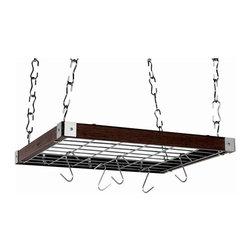 """Concept Housewares - Square Hanging Kitchen Rack, Espresso Wood - Dimensions: 23"""" D x 19"""" W x 2.2"""" H"""
