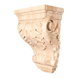 Hardware Resources - Maple Wide Acanthus Corbels - Wide Acanthus Corbel 8-1/4In. x 6-1/4In. x 14In.