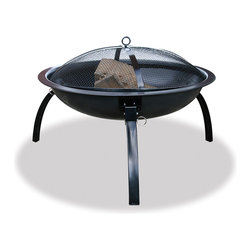 Blue Rhino - Black 24-inch Firebowl - With its convenient carrying case, this black folding fire pit is great for either backyard use or on-the-go camping. The legs fold for easy transport, the carrying case comes with a handle and a spark guard is included for safety.