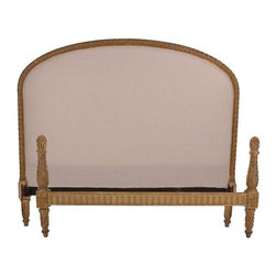 """Pre-owned 19th C. Antique French Full Bed - Late-19th-century bed from France. The bed features an upholstered headboard with an intricately carved wood frame, footboard, and two side rails.The front and back of headboard is newly upholstered in a natural-colored muslin. The painted finish on the fame is gently worn to reveal the warm tones of the wood. The bed accommodates a US Standard full-size mattress, 75""""L x 54""""W.     Headboard dimensions: 59"""" wide, 51"""" high, 4.5"""" depth  Footboard dimensions: 59"""" wide, 12.5""""/27.5"""" high, 3"""" depth  Siderail (2) dimensions: 75"""" long, 3.5"""" high, 1"""" depth"""