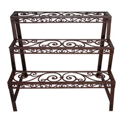 Rectangle Etagère - Traditional Victorian cast iron rectangular etagere. 3 shelves have elegant scroll work design and are 6.75 inches deep. Combination with Quarter Round Etagere makes an elegant plant wall.