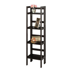 Winsomewood - 4-tier Foldable Shelf, Narrow - This folding shelf comes in three different finishes to match any space. Use it in the bathroom for your towels, in the kids room for their stuff toys or in an office for books or files. Made of Solid beech wood.