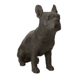 Lazy Susan - Lazy Susan 228004 Aged Black Sitting Bulldog - You can freak your bulldog out or just enjoy this fun black resin replica of the smooshy faced, gregarious breed. This statue of a sitting bulldog will sit well in your mudroom, hallway or living room and guard against intruders.