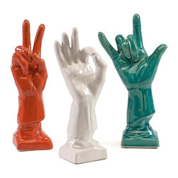 "IMAX - Cohen Ceramic Hands - Set of 3 - Peace, love and Harmony are demonstrated in this collection of three ceramic hand signs in high gloss finishes. Item Dimensions: (10.5-10.5-10.5""h x 5.75-3.25-3.25""w x 2.75-3-2.75"")"