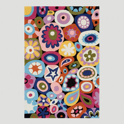 World Market - Flower Power Rug - Unleash your inner flower child with this vibrant Flower Power Rug, a great addition to a playroom, dormitory or your own free-love kind of space. Hand tufted from 100% modacrylic, this rug features a '60s-inspired design filled with graphic flowers floating together like the bubbles in a lava lamp. Available in multiple sizes, this modacrylic rug offers all the benefits of wool, including durability and a plush feel, at a family-friendly price.