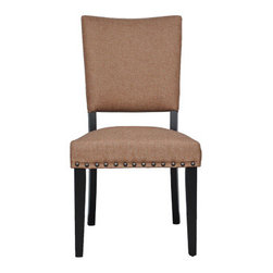 Urban Home Rustic Linen Side Chair - Classic Curves & Quality Lines make this a Must Have Dining Chair. Features matte nailhead silver trim.