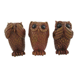 Set Of 3 Wood Look Owl NO EVIL Statues Figures - This beautiful set of three statues depicts wise owls in the classic `See No Evil, Hear No Evil, Speak No Evil` poses. Each of the owls measures 3 inches tall, 1 3/4 inches across, and 1 1/2 inches deep. Made of cold cast resin, they have a woodgrain finish that give them a carved wood appearance. They make a great gift for any owl lover.