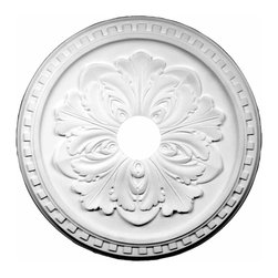 Renovators Supply - Ceiling Medallions White Urethane Ceiling Medallion 16 7/8'' Dia - Ceiling Medallions: Made of virtually indestructible  high-density  urethane our medallions are cast from  steel molds  making them the highest quality on the market. Steel molds provide a higher quality result for  pattern consistency, design clarity & overall strength & durability.  Lightweight they are  easily installed  with no special skills. Unlike plaster or wood urethane is resistant to  cracking, warping or peeling.   Factory-primed  these medallions are ready for finishing. NOTE: Images medallions with a center opening may not be represented to scale, appearing larger or smaller than they actually are.