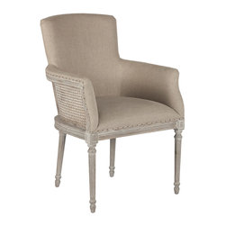 Kathy Kuo Home - Moss French Country Barley Linen Petite Dining Arm Chair - Simple and sophisticated, this small side chair is perfect at the end of a table or a small niche in the home.
