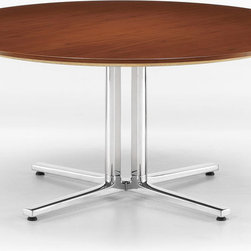 "Herman Miller - Round Everywhere Table - Round Everywhere Table  by Herman Miller    At A Glance:   Like the name implies, this Round Table can go, well, everywhere. With a versatile design and sturdy base this round table is just at home in an office board room as it is in a home dining room or office break area. Crisp lines and a steady base available in your choice of metallic silver or black umber offer a sleek, modern look for any space. Choose the 36"" top for smaller office space, or go with the larger 48"" top for a table that everyone can fit around.   What's To Like:   There are work tables, and then there are work tables that look like a million bucks. The Round Everywhere Table is one of the latter.The table's laminate top and metal base are incredibly durable, able to stand up to the wear and tear of daily life without breaking a sweat. (Also important: the top's a breeze to clean.)  What's Not to Like:   We'd like it even better if it had a few mo"