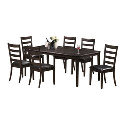"""Monarch Specialties - Monarch Specialties 7-Piece 78x42 Dining Room Set in Cappuccino, Dark Wood - Finished in a cappuccino cherry veneer, this spacious dining table features symmetrically cut corners that add a simple touch to its stylish look. Its solid wood tapered legs, offer smooth lines as well as sturdy support. This piece comes with an 18"""" extendible leaf, which allows for extra space when hosting dinner parties or get-togethers. This beautiful table is guaranteed to please! What's included: Dining Table (1), Side Chair (6)."""