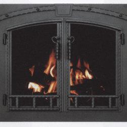 Custom Blacksmith Arch Conversion Fireplace Glass Door -