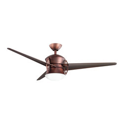 "DECORATIVE FANS - DECORATIVE FANS Cadence 54"" Contemporary Ceiling Fan X-BBO521003 - The finishes of this minimalist style Kichler Lighting ceiling fan give it an almost industrial appeal. From the Cadence Collection, it blends an Oil Brushed Bronze hue with clear oil brushed bronze blades for a complimentary look."