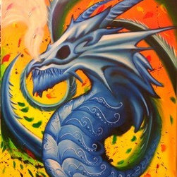 Blue Dragon Vortex (Original) by Miguel Nava - I created this piece inspired on the magic of Dragons representing its imposing strength and a colorful contrast. It represents the infinity of magic with a tail that creates the effect of a Vortex.