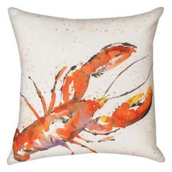 Pair of `Painted Sealife` Lobster 18 Inch Indoor / Outdoor Throw Pillows - This pair of 18 inch by 18 inch woven throw pillows adds a wonderful accent to your home or patio. The pillows have ClimaWeave weatherproof exteriors, that resist both moisture and fading. The pillows have the same print on front and back, a watercolor painting of a lobster. They have 100% polyester stuffing. These pillows are crafted with pride in the Blue Ridge Mountains of North Carolina, and add a quality accent to your home. They make great gifts for sealife lovers.