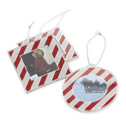 """Candy Frame Ornaments - Set of 3 - New - These candy cane–striped photo frame ornaments are a wonderful way to document the holidays each year. Personalize with photos of family, friends, and even pets—you can keep them to hang next year, or give out as gifts. Each is made with mouth-blown glass in a metal frame. Each holds a picture about 2"""" wide."""
