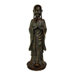 "Oriental Furniture - 22"" Standing Japanese Zen Monk Statue - This Japanese monk statue is more simple, subtle works compared to more ornate Buddhist art of Tibet, China, and Thailand. This standing version is almost 2 feet tall. Interesting, creative, home decor can help turn an unadorned dorm room, apartment, or house into a warm, special place to relax and renew our strength and emotional balance. A unique alternative to common interior design accessories. For some, Japanese art imparts an element of Asian style and design that inspires access to inner resources we all have but don't always use. In Asian gift giving, a Buddha statue or a Buddhist monk statue is a thoughtful gift of respect and friendship, and we believe they will make good gifts right here in the USA as well."