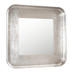 Kathy Kuo Home - Marant French Modern Silver Leaf Round Square Mirror - Combining square with round and classic with modern, this mirror adds balance and style to any area. The slim silhouette makes it the perfect choice for a narrow hallway or small entryway. Finished in antique silver leaf, this shimmering shape reflects attention to detail in your design style.