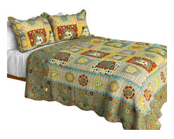Blancho Bedding - [My Childhood] Cotton 3PC Vermicelli-Quilted Patchwork Quilt Set (Full/Queen) - Set includes a quilt and two quilted shams (one in twin set). Shell and fill are 100% cotton. For convenience, all bedding components are machine washable on cold in the gentle cycle and can be dried on low heat and will last you years. Intricate vermicelli quilting provides a rich surface texture. This vermicelli-quilted quilt set will refresh your bedroom decor instantly, create a cozy and inviting atmosphere and is sure to transform the look of your bedroom or guest room. Dimensions: Full/Queen quilt: 90 inches x 98 inches  Standard sham: 20 inches x 26 inches.