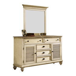 Riverside Furniture - Riverside Furniture Coventry Shutter Door Dresser and Mirror Set in Dover White - Riverside Furniture - Dressers - 3256032561KIT