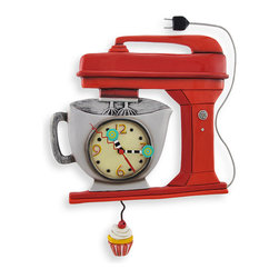 Allen Designs - Allen Designs Red Vintage Kitchen Mixer Wall Clock with Cupcake Pendulum - This vintage mixer wall clock is an excellent addition to the kitchen of any baker. It is shaped like a Kitchen Aid mixer with the clock face on the mixing bowl and a delicious looking cupcake pendulum, swinging to and fro beneath it, hypnotizing your tasebuds. Made of cast resin, and lovingly hand painted, it measures 10 3/4 inches tall, 11 1/2 inches long, and 1 3/4 inches deep. It features a quartz clock movement and runs on 1 AA battery (not included). This clock makes a great gift for your favorite foodie (or for yourself!)