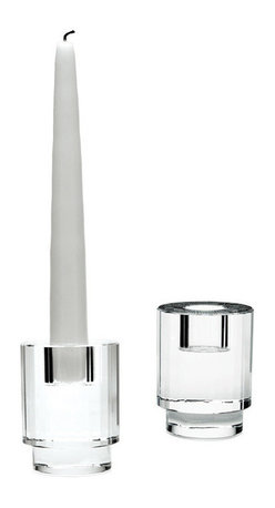 Lazy Susan - Fluted Crystal Column Candleholders - Set of 2 - A high quality block of crystal has a bed for a candle cut into it, vertical flutes are hand cut into the body and the piece is polished by hand until it sparkles. The crystal shimmers and dances when the candle is light creating ambience. Suitable for a taper candle. Set of 2.